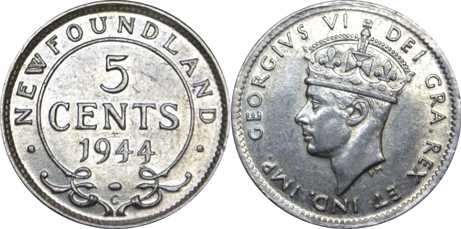 5 cents 1944 - Newfoundland