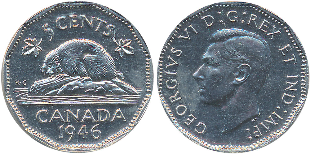 CANADA George VI 5 Cent 1946 Canadian Nickel Best Offer
