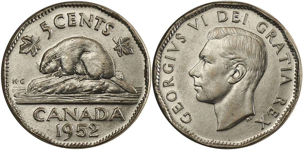 numicanada 5 cents 1952 valeur des pi ces de monnaie canadiennes. Black Bedroom Furniture Sets. Home Design Ideas