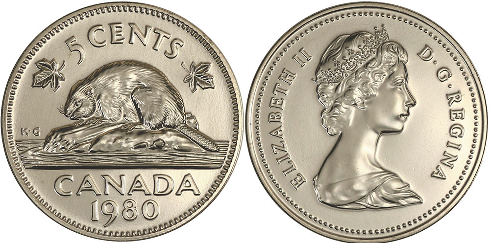 Coins and Canada - 5 cents 1980 - Canadian coins price guide and values