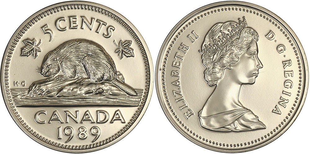 1989 Canada 5 Cents Nickel Proof Coin From Set