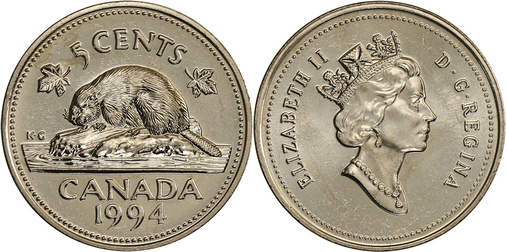 5 Cent, 1990 Uncirculated Canadian Coin