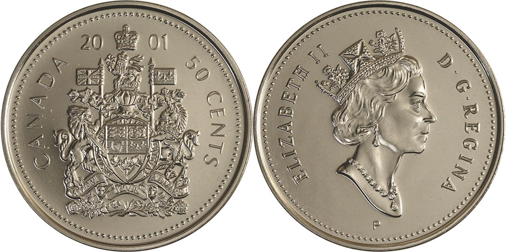 2001-P Canadian Brilliant Uncirculated Fifty Cent coin!