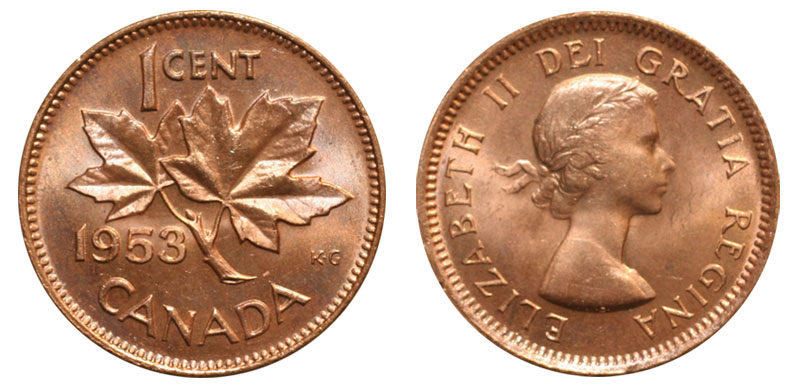 Coins And Canada 1 Cent 1954 Canadian Coins Price Guide And Values