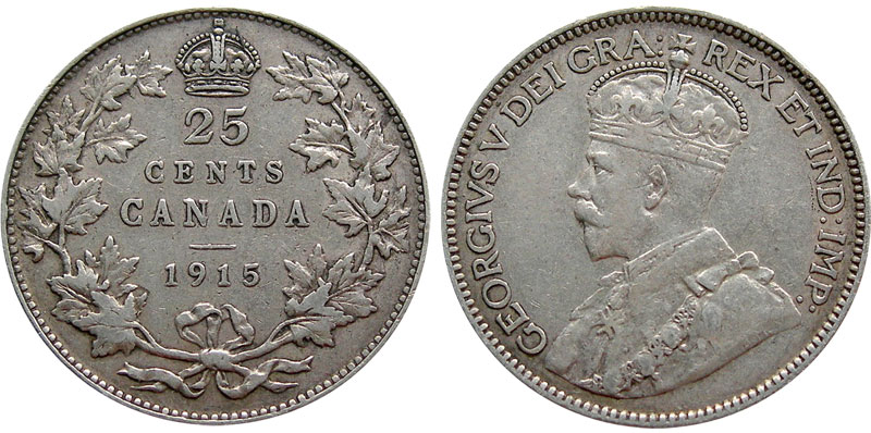 25 cents 1915