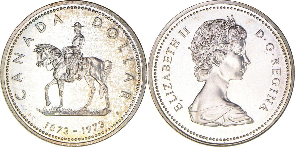 Silver dollar 1973 -  RCMP - 1873-1973