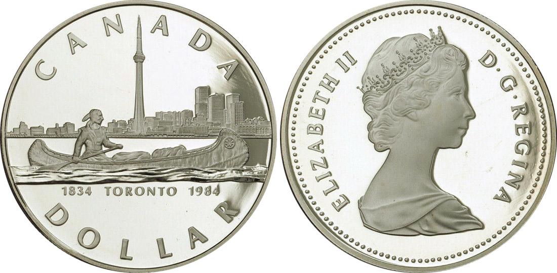 CANADA  1984  ****  PROOF CAMEO  SILVER DOLLAR   ****