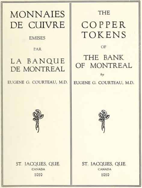 The Copper Tokens of The Bank of Montreal
