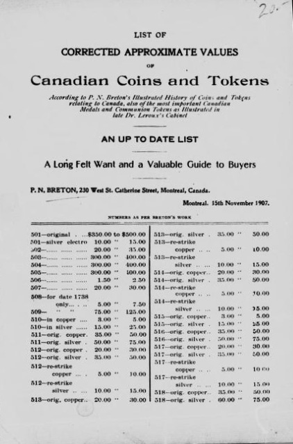 List of corrected approximate values of canadian coins and tokens