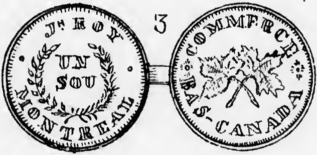 Montreal Trade Tokens - J.H. Roy - 1 sou 1838